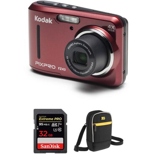 Kodak PIXPRO FZ43 Digital Camera with Accessory Kit (Red)