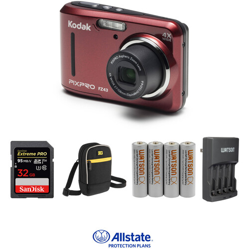 Kodak PIXPRO FZ43 Digital Camera Deluxe Kit (Red)