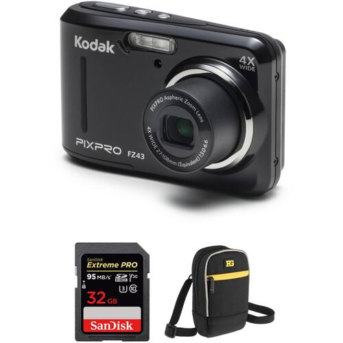 Kodak PIXPRO FZ43 Digital Camera with Accessory Kit (Black)