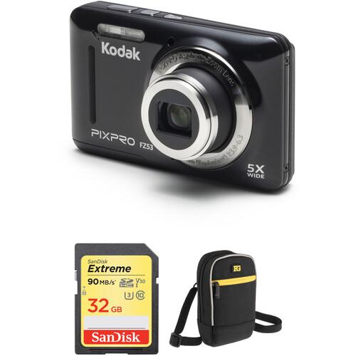 Kodak PIXPRO FZ53 Digital Camera with Accessory Kit (Black)