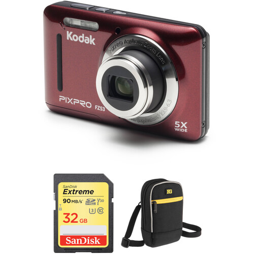 Kodak PIXPRO FZ53 Digital Camera with Accessory Kit (Red)