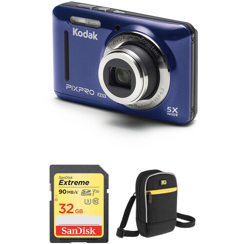 Kodak PIXPRO FZ53 Digital Camera with Accessory Kit (Blue)