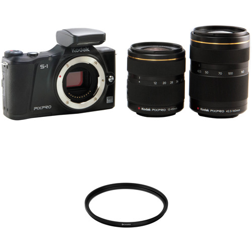 Kodak KODAK PIXPRO S-1 Mirrorless Digital Camera with 12-45mm and 42.5-160mm Lenses and Accessory Kit (Black)