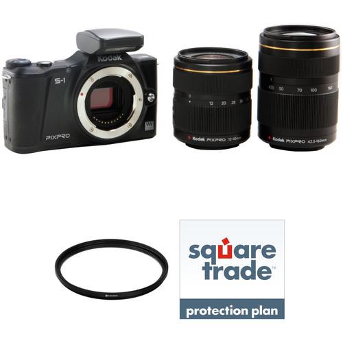 Kodak KODAK PIXPRO S-1 Mirrorless Digital Camera with 12-45mm and 42.5-160mm Lenses Deluxe Kit (Black)