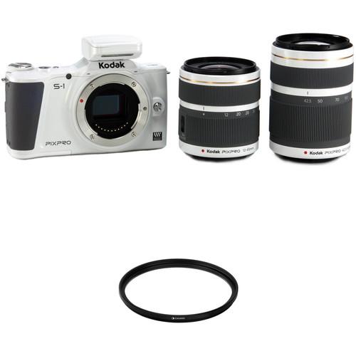 Kodak KODAK PIXPRO S-1 Mirrorless Digital Camera with 12-45mm and 42.5-160mm Lenses and Accessory Kit (White)