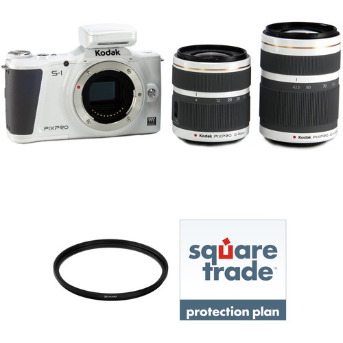Kodak KODAK PIXPRO S-1 Mirrorless Digital Camera with 12-45mm and 42.5-160mm Lenses Deluxe Kit (White)