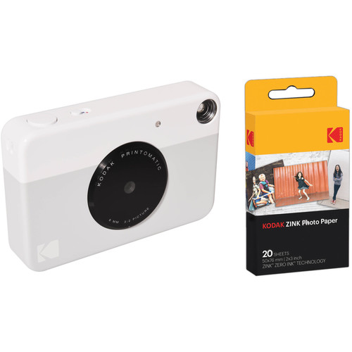 Kodak PRINTOMATIC Instant Digital Camera with 20 Sheets of ZINK Paper Kit (Gray)