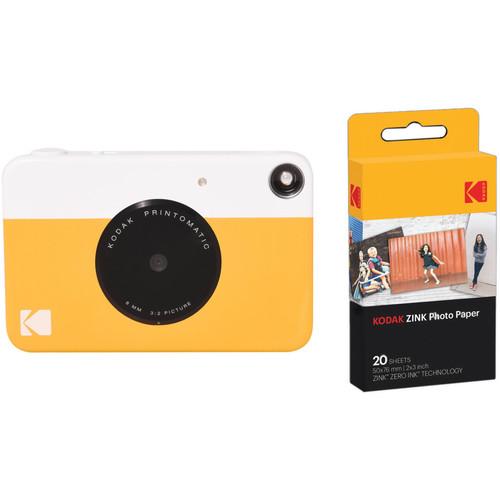Kodak PRINTOMATIC Instant Digital Camera with 20 Sheets of ZINK Paper Kit (Yellow)