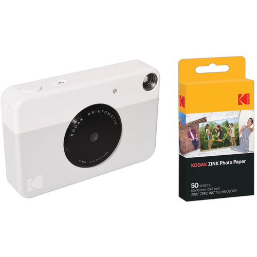 Kodak PRINTOMATIC Instant Digital Camera with 50 Sheets of ZINK Paper Kit (Gray)