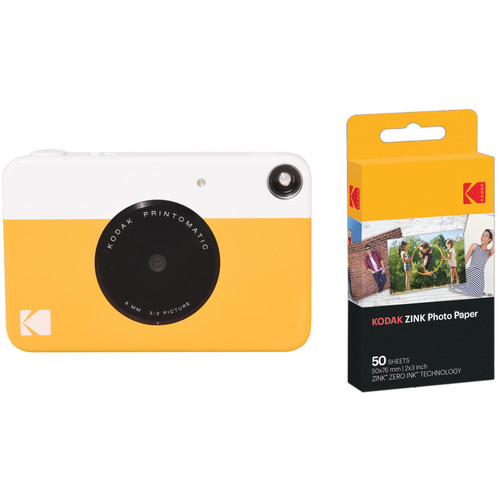 Kodak PRINTOMATIC Instant Digital Camera with 50 Sheets of ZINK Paper Kit (Yellow)