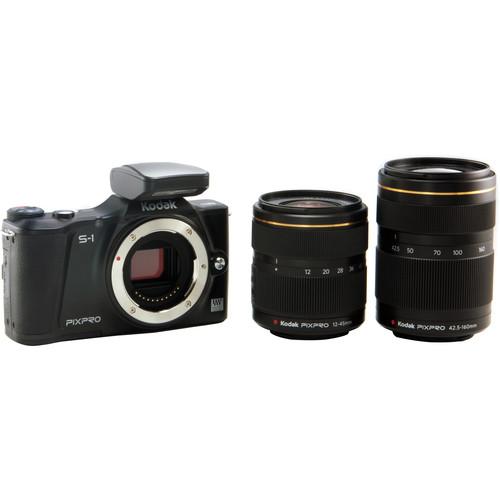 Kodak PIXPRO S-1 Mirrorless Digital Camera with 12-45mm and 42.5-160mm Lenses (Black)