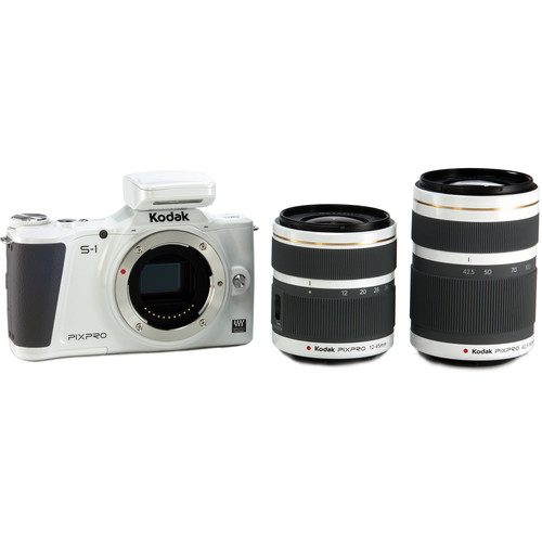 Kodak PIXPRO S-1 Mirrorless Digital Camera with 12-45mm and 42.5-160mm Lenses (White)