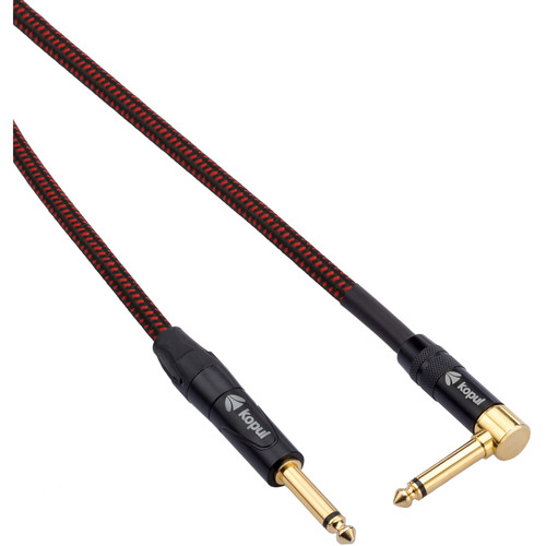 """Kopul Premium Instrument Cable 1/4"""" Male Right-Angle to 1/4"""" Male with Braided Fabric Jacket (10')"""