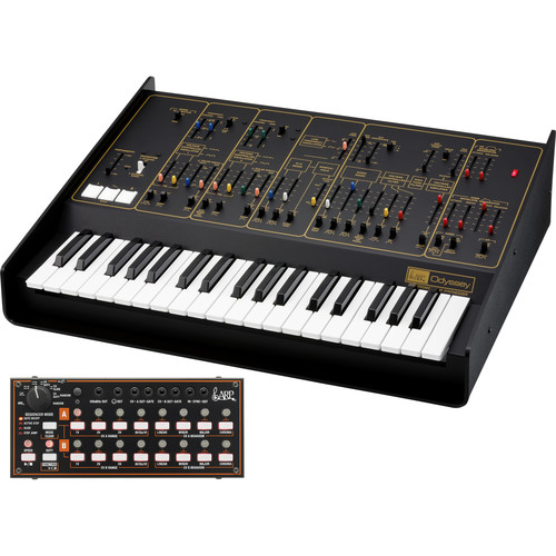 Korg ARP Odyssey FSQ Rev2 Full-Sized Analog Synthesizer with SQ-1 Step Sequencer (Black and Gold)