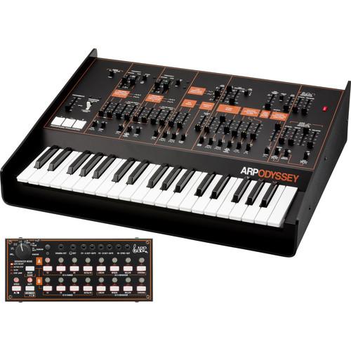 Korg ARP Odyssey FSQ Rev3 Full-Sized Analog Synthesizer with SQ-1 Step Sequencer (Black and Orange)