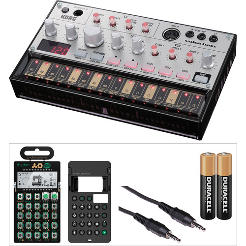 Korg Volca Analog Bass Machine Synthesizer & Teenage Engineering PO-12 Rhythm Drum Synthesizer with Accessories