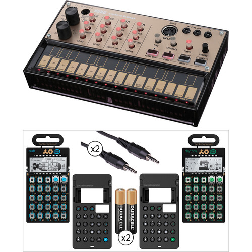 Korg Volca Keys Analog Synth with Teenage Engineering PO-12 Drum Synth, PO-14 Sub Bass Synth & Accessories