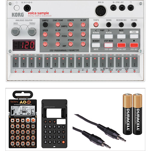 Korg Volca Sample Kit with Pocket Operator P0-16, Silicone Case, Batteries, and Audio/Sync Cable