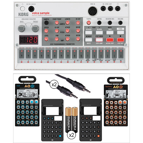 Korg Volca Sample Kit with Pocket Operator P0-14 & PO-16, 2x Silicone Case, Batteries, and Audio/Sync Cable