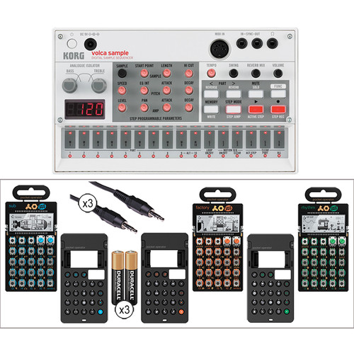 Korg Volca Sample Kit with Pocket Operator PO-12, P0-14, & PO-16, 3x Silicone Cases, Batteries, and Audio/Sync Cables
