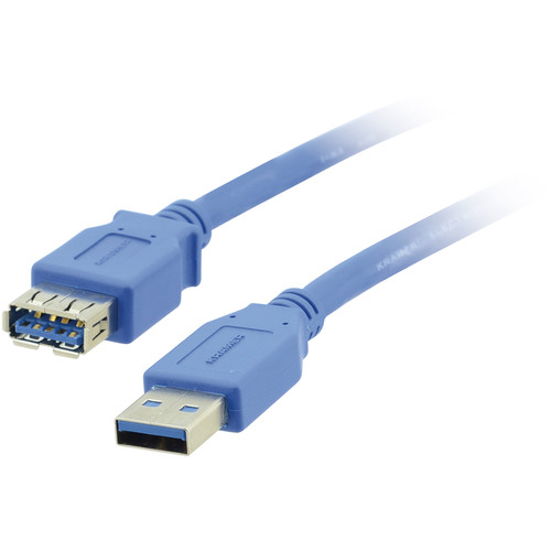 Kramer USB 3.0 Type-A Male to Type-A Female Extension Cable (15', Blue)