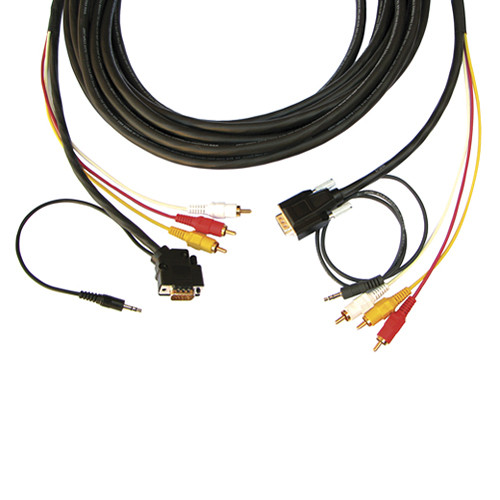 Kramer HD15 Male with 3.5mm Audio and 3 RCA Hydra to 45° HD15 Male with 3.5mm Audio and 3 RCA Hydra Plenum Cable (50')