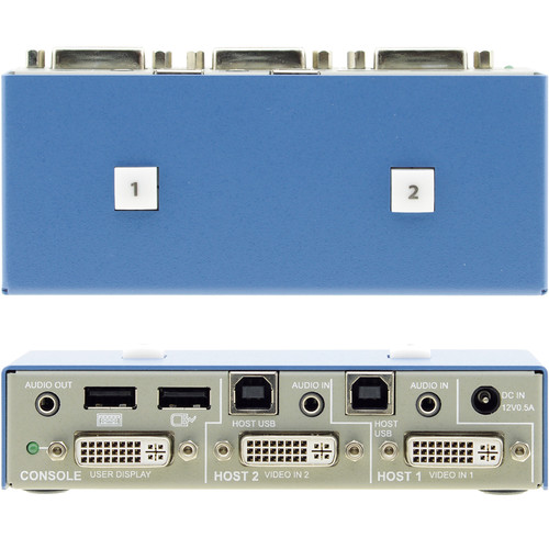 High Sec Labs 2-Port Small Form Factor DVI-I KVM Switch