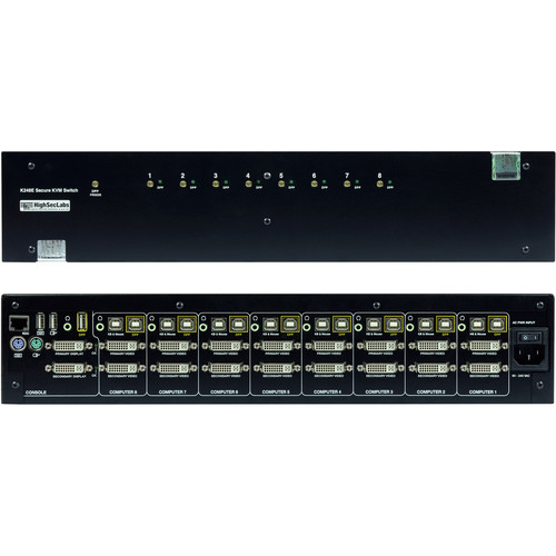 High Sec Labs 8-Port HighSecLabs Secure Dual Display DVI-I KVM Switch