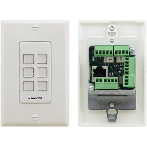 Kramer US D-Size 6-Button PoE and I/O Control Keypad with White 1-Gang DECORA Design Frame