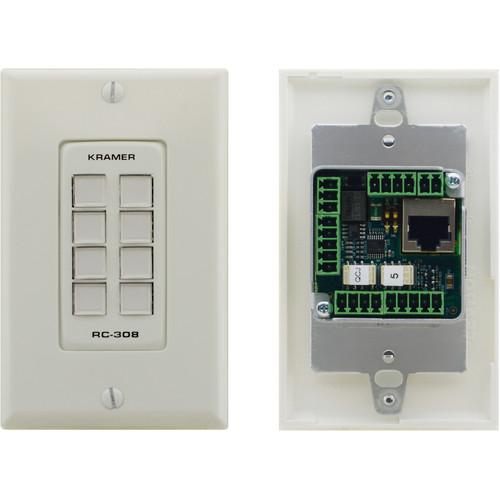 Kramer US D-Size 8-Button Control Keypad with Black 1-Gang DECORA Design Frame