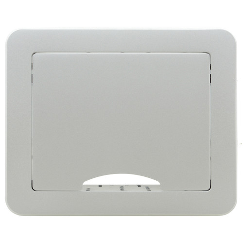 Kramer Table Mount Modular Multi-Connection Box with Tilt-Up Lid (Silver Sand-Blasted Anodized Aluminum Top)