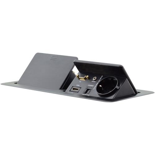 Kramer Dual Pop-Up Table Mount Multi-Connection Unit (Black Anodized Aluminum Top)