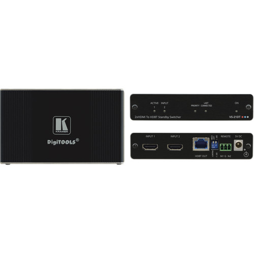 Kramer 2x1 4K60 4:2:0 HDCP 2.2 HDMI Auto Switcher over HDBaseT