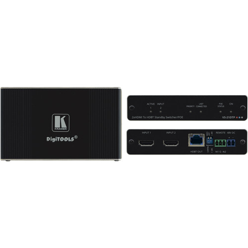 Kramer 2x1 4K60 4:2:0 HDCP 2.2 HDMI Auto Switcher with Bidirectional PoE over HDBaseT