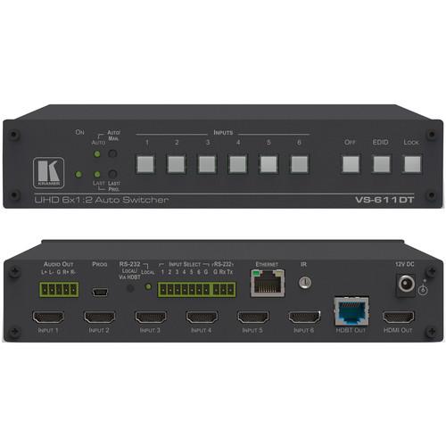 Kramer VS-611DT 6x1:2 4K HDMI/HDBaseT Extended Reach PoE Auto Switcher