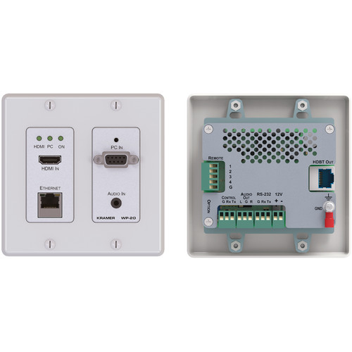 Kramer 4K UHD HDMI/XGA/Ethernet/RS232 over HDBaseT Active Wall Plate Transmitter (Black)