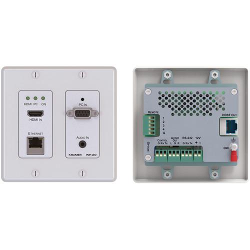Kramer 4K UHD HDMI/XGA/Ethernet/RS232 over HDBaseT Active Wall Plate Transmitter (White)