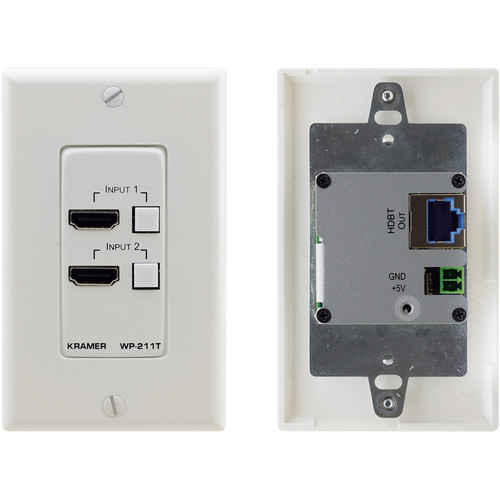 Kramer 4K60 4:2:0 HDCP 2.2 HDMI Wall-Plate Auto Switcher and PoE Acceptor over HDBaseT (White)