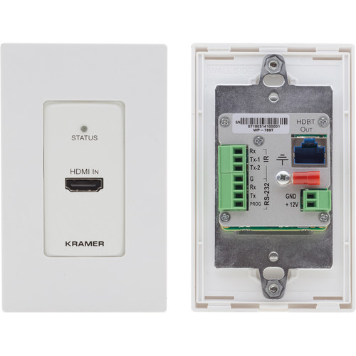 Kramer 4K60 HDMI-over-HDBaseT 1-Gang Wall Plate Transmitter with PoE/RS-232/IR (White/Black)
