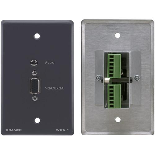 Kramer 15-Pin Sub-D HD & Mini Plug Audio Input to Terminal Block Adapter - Wall Plate Insert (Gray)