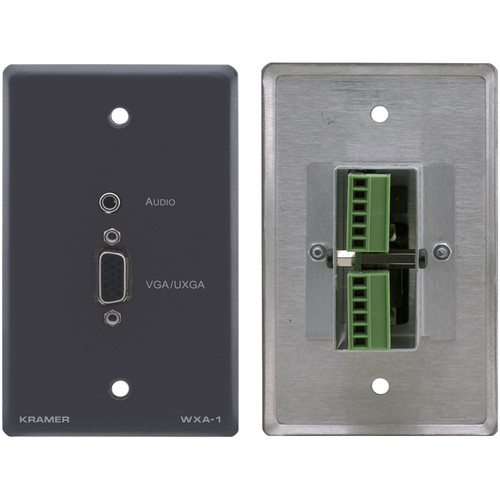 Kramer 15-Pin Sub-D HD & Mini Plug Audio Input to Terminal Block Adapter - Wall Plate Insert (Gray)