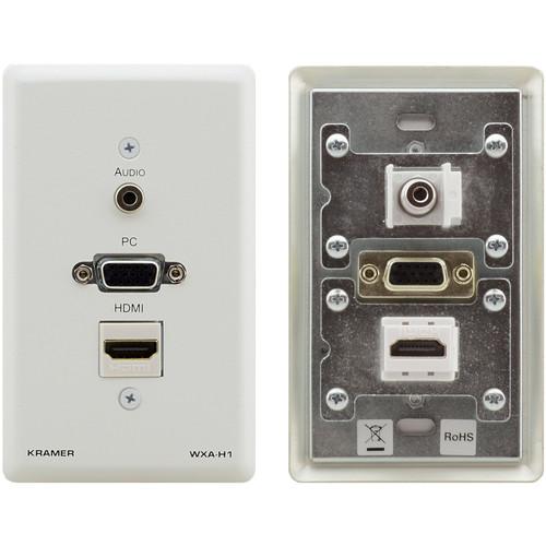 "Kramer HDMI, VGA, and 1/8"" Audio Wall Plate (White)"
