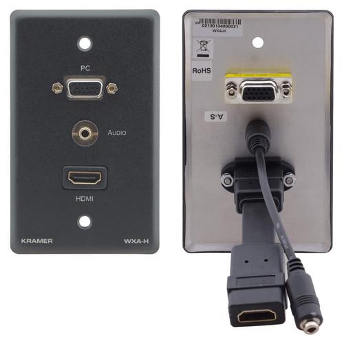 Kramer 15-Pin Sub-D HD VGA, 3.5mm Audio, and HDMI Wall Plate (Black)