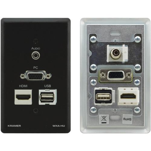 "Kramer HDMI, USB,VGA, and 1/8"" Audio Wall Plate (Black)"
