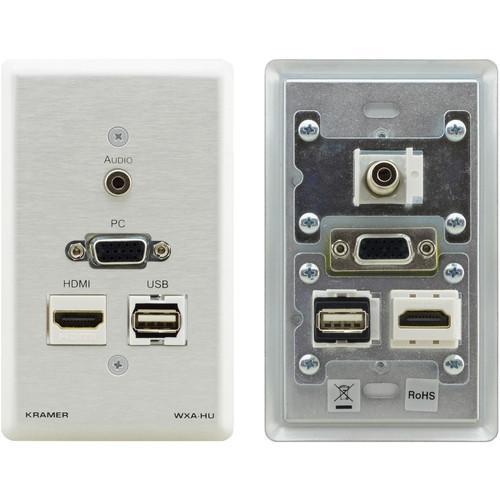 "Kramer HDMI, USB,VGA, and 1/8"" Audio Wall Plate (Silver)"