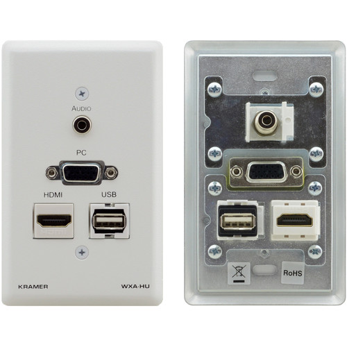 "Kramer HDMI, USB, VGA, and 1/8"" Audio Wall Plate (White)"