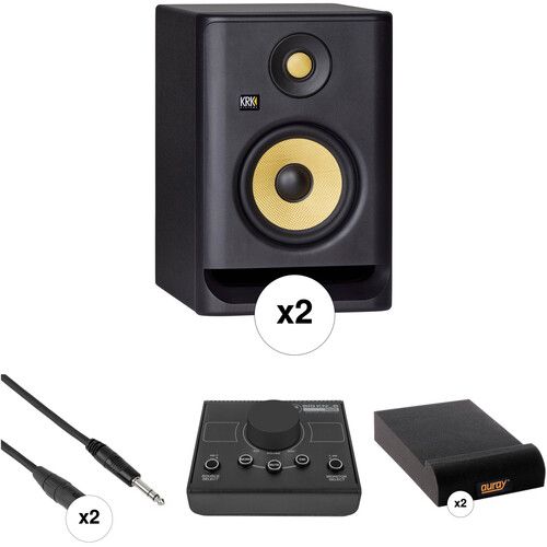 KRK G4 ROKIT 5 Active Studio Monitor Kit w/ Passive Monitor Controller, Cables, and Foam Speaker Pads