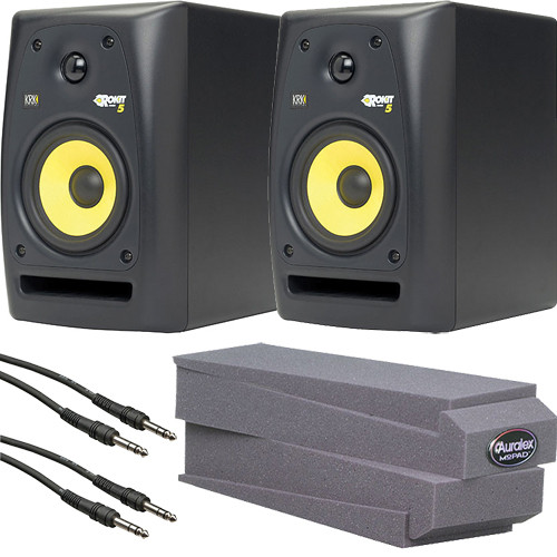 """KRK RoKit 5 G2 Desktop Stereo Pair Kit with 1/4"""" TRS Cables and MoPADs"""