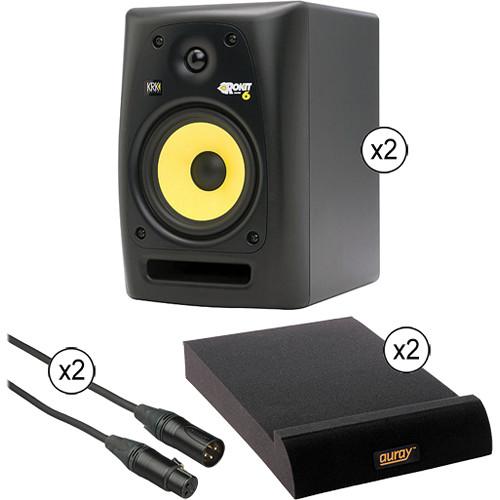 KRK KRK RoKit 6 G2 Studio Monitor Speakers & Desktop Isolation Pads Kit