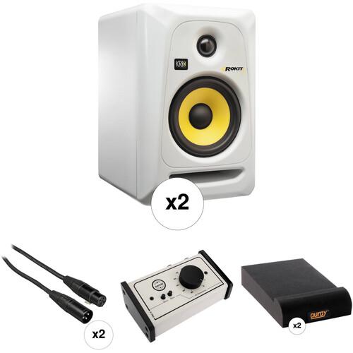 "KRK Rokit 5"" Studio Monitors and Monitor Controller Kit (White)"